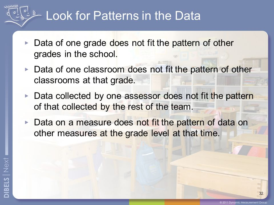 Look for Patterns in the Data Data of one grade does not fit the pattern of other grades in the school. Data of one classroom does not fit the pattern