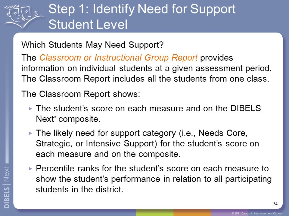 Step 1: Identify Need for Support Student Level Which Students May Need Support? The Classroom or Instructional Group Report provides information on i
