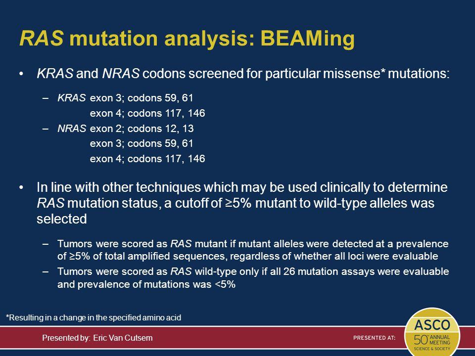 RAS mutation analysis: BEAMing Presented by: Eric Van Cutsem KRAS and NRAS codons screened for particular missense* mutations: –KRASexon 3; codons 59,