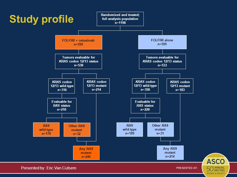 Study profile Presented by: Eric Van Cutsem Tumors evaluable for KRAS codon 12/13 status n=530 FOLFIRI alone n=599 Randomized and treated; full analys