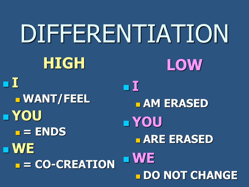 DIFFERENTIATION LOW I AM ERASED AM ERASED YOU YOU ARE ERASED ARE ERASED WE WE DO NOT CHANGE DO NOT CHANGEHIGH I WANT/FEEL YOU YOU = ENDS WE WE = CO-CREATION
