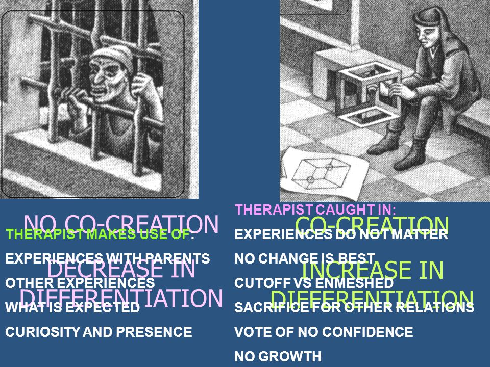 CO-CREATION INCREASE IN DIFFERENTIATION NO CO-CREATION DECREASE IN DIFFERENTIATION THERAPIST MAKES USE OF: EXPERIENCES WITH PARENTS OTHER EXPERIENCES WHAT IS EXPECTED CURIOSITY AND PRESENCE THERAPIST CAUGHT IN: EXPERIENCES DO NOT MATTER NO CHANGE IS BEST CUTOFF VS ENMESHED SACRIFICE FOR OTHER RELATIONS VOTE OF NO CONFIDENCE NO GROWTH