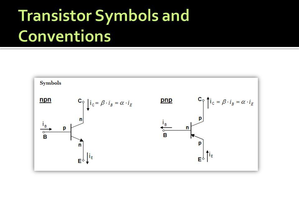 Operating Region ParametersMode Cut Off V BE < V cut-in V CE > V supply I B = I C = 0 Switch OFF Linear V BE = V cut-in V sat < V CE < V supply I C = β*I B Amplification Saturated V BE = V cut-in, V CE < V sat I B > I C,max /β, I C,max > 0 Switch ON