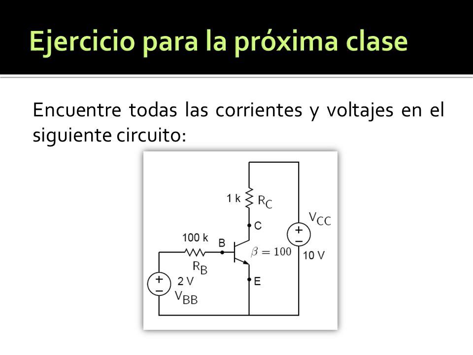 Encuentre todas las corrientes y voltajes en el siguiente circuito: