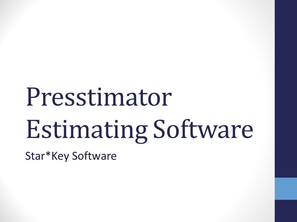 Presstimator Estimating Software Star*Key Software