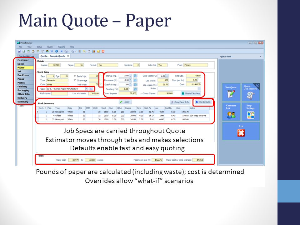 Main Quote – Paper Defaults enable fast and easy quoting Overrides allow what-if scenarios Job Specs are carried throughout Quote Estimator moves through tabs and makes selections Pounds of paper are calculated (including waste); cost is determined oooooo
