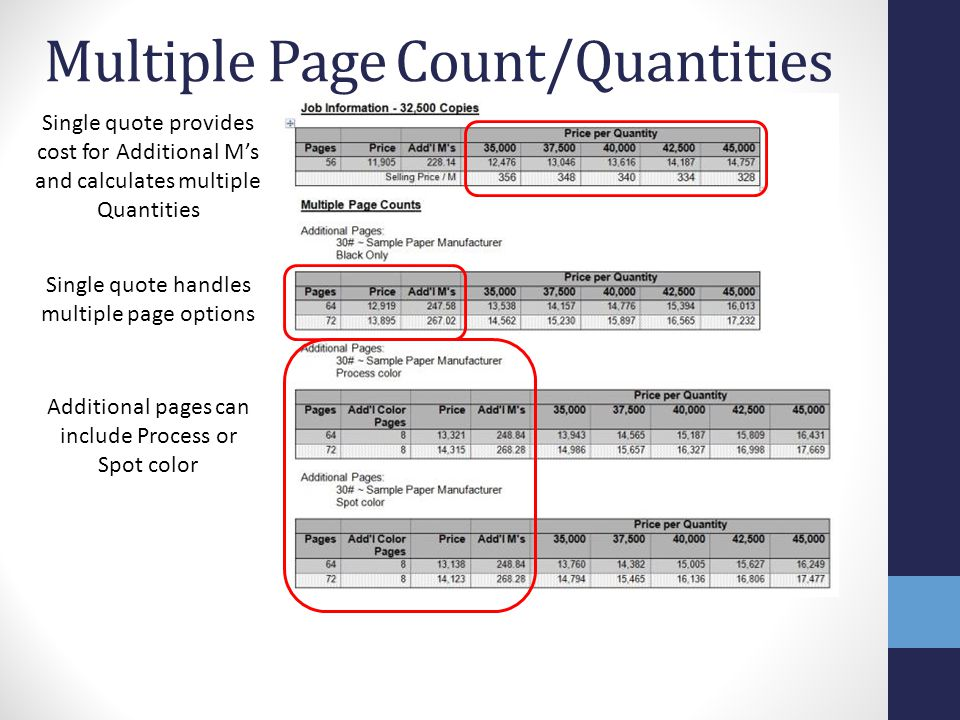 Multiple Page Count/Quantities Single quote handles multiple page options Additional pages can include Process or Spot color Single quote provides cost for Additional M's and calculates multiple Quantities