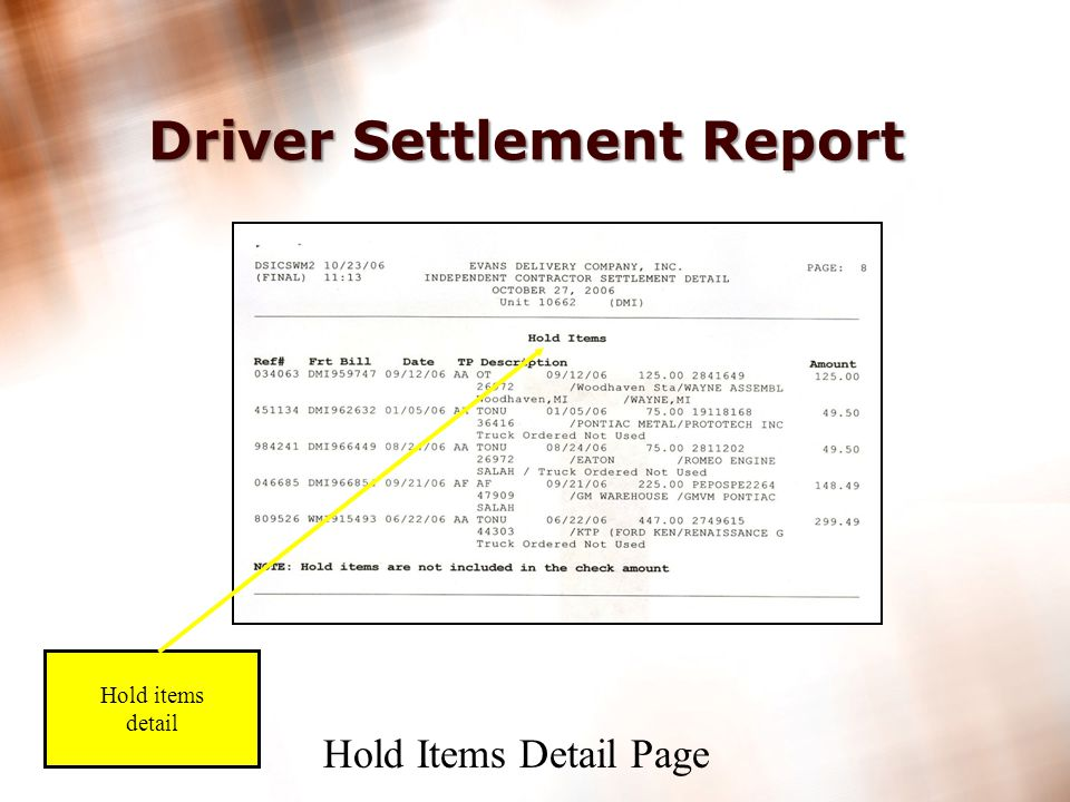 19 Driver Settlement Report Hold items summary Hold items not included in check amount Hold Items Cover Page