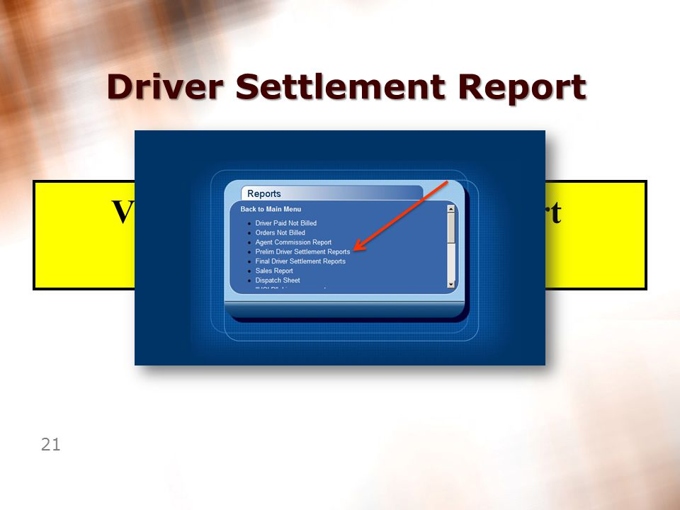 20 Driver Settlement Report Hold items detail Hold Items Detail Page