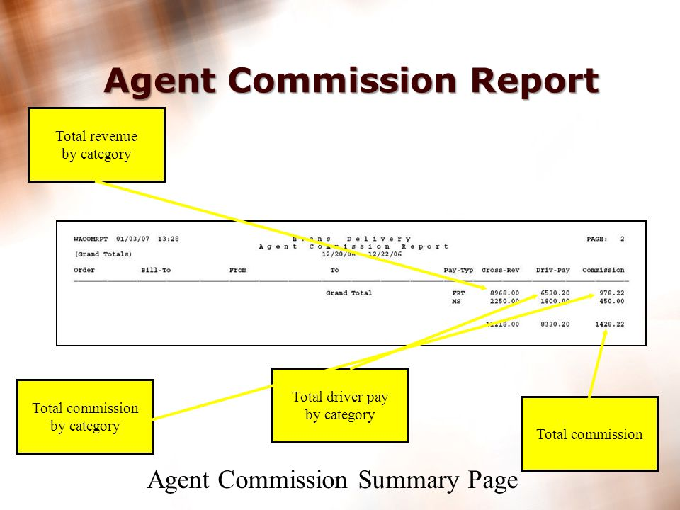 24 Agent Commission Report Order Number Bill-to, from & to Pay Type Billed Revenue Driver Pay Agent commission Agent Commission Detail Page