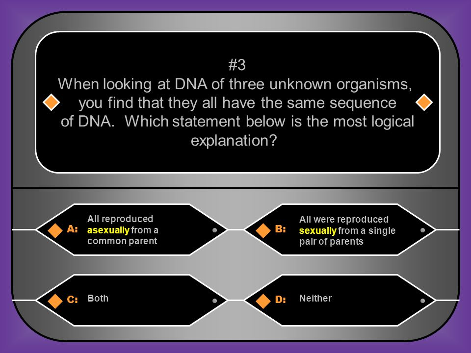 A:B: All reproduced asexually from a common parent All were reproduced sexually from a single pair of parents #3 When looking at DNA of three unknown organisms, you find that they all have the same sequence of DNA.