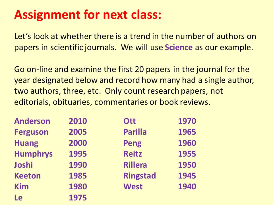 Assignment for next class: Let's look at whether there is a trend in the number of authors on papers in scientific journals. We will use Science as ou
