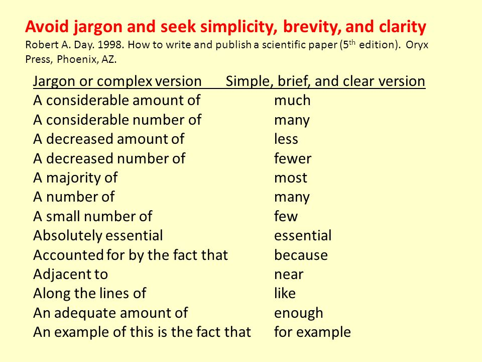 Avoid jargon and seek simplicity, brevity, and clarity Robert A. Day. 1998. How to write and publish a scientific paper (5 th edition). Oryx Press, Ph