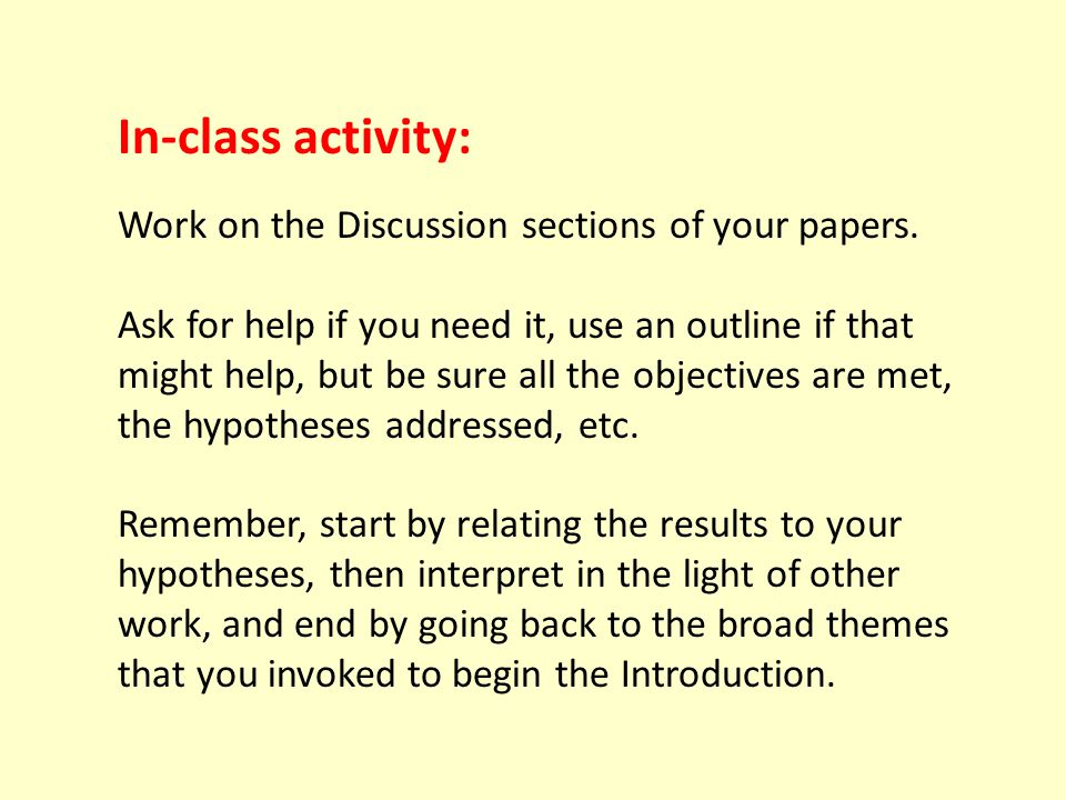 In-class activity: Work on the Discussion sections of your papers.