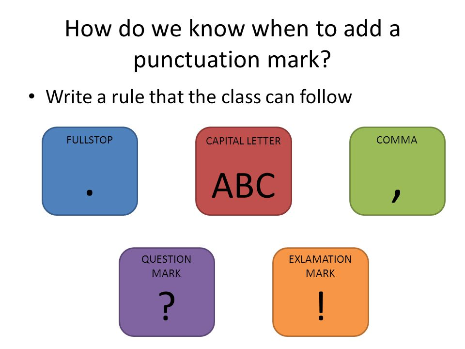 How do we know when to add a punctuation mark. Write a rule that the class can follow FULLSTOP.