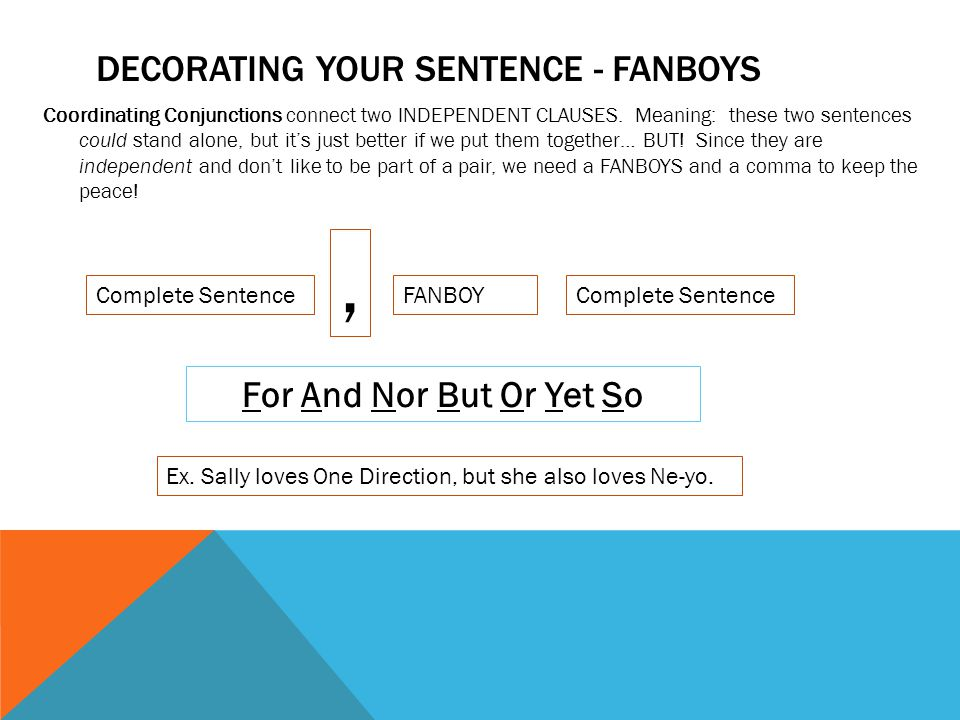 DECORATING YOUR SENTENCE - FANBOYS Coordinating Conjunctions connect two INDEPENDENT CLAUSES.