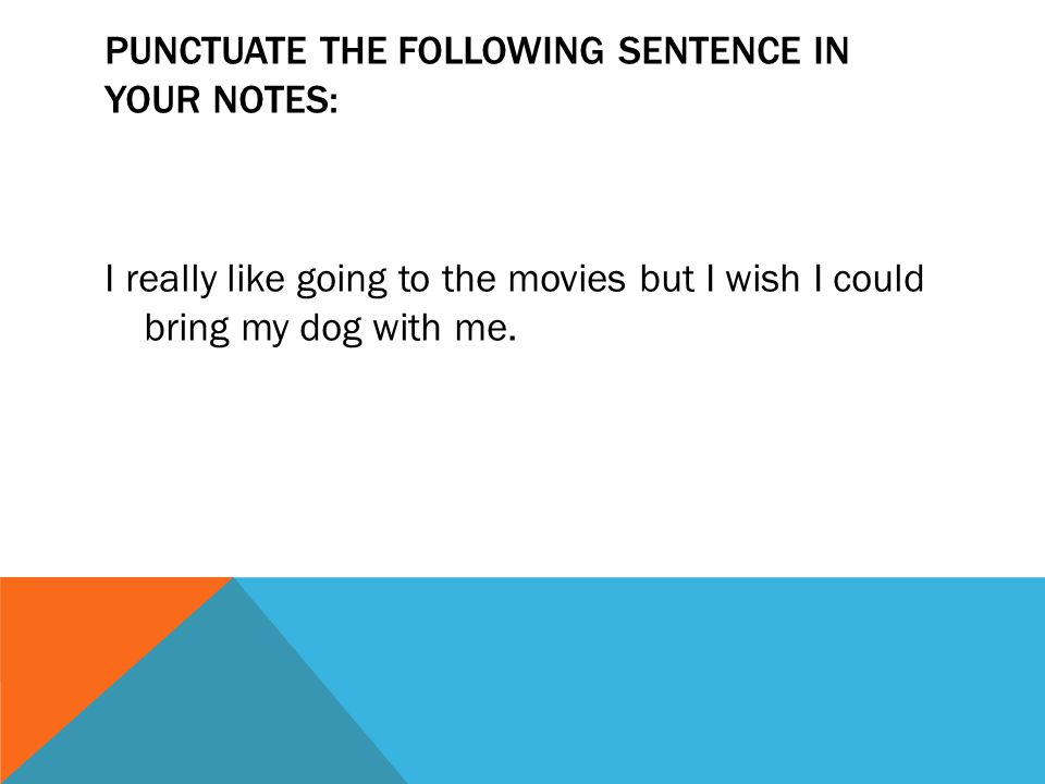 PUNCTUATE THE FOLLOWING SENTENCE IN YOUR NOTES: I really like going to the movies but I wish I could bring my dog with me.