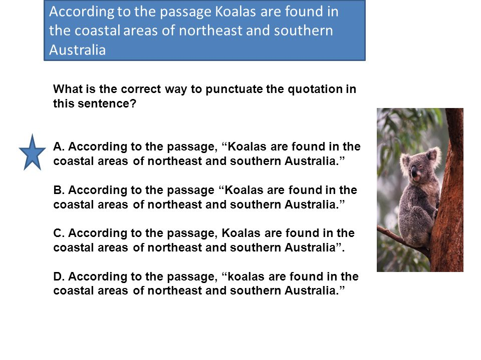 According to the passage Koalas are found in the coastal areas of northeast and southern Australia What is the correct way to punctuate the quotation in this sentence.