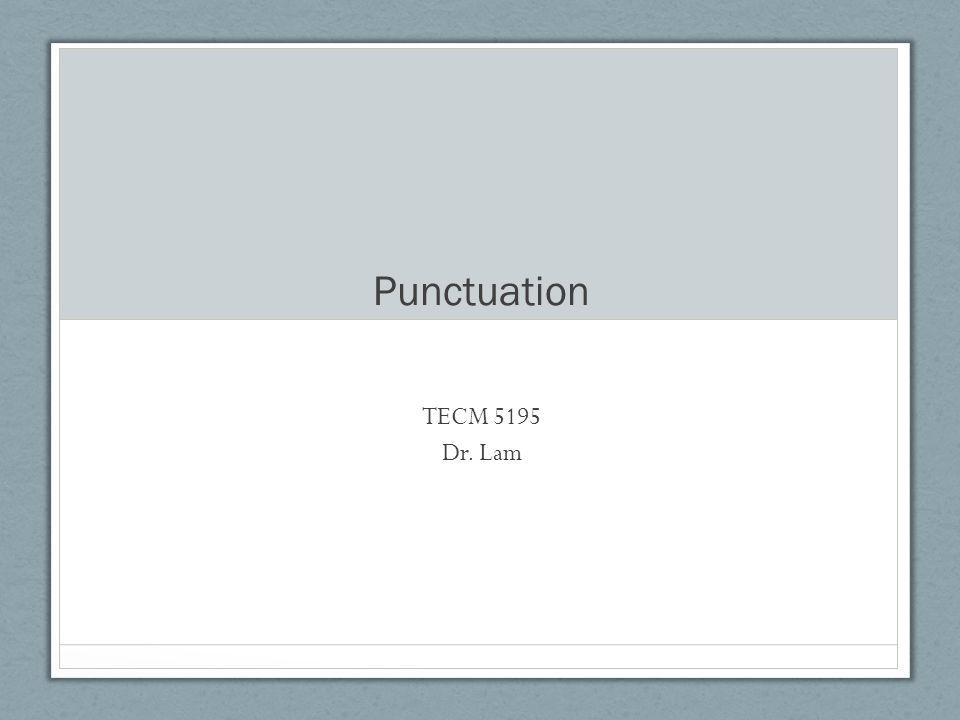 Punctuation TECM 5195 Dr. Lam
