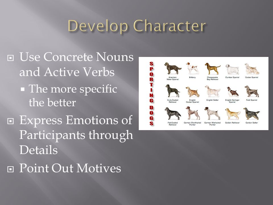  Use Concrete Nouns and Active Verbs  The more specific the better  Express Emotions of Participants through Details  Point Out Motives
