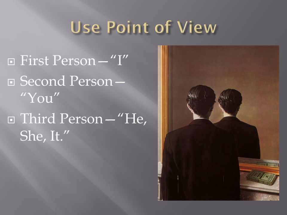  First Person— I  Second Person— You  Third Person— He, She, It.