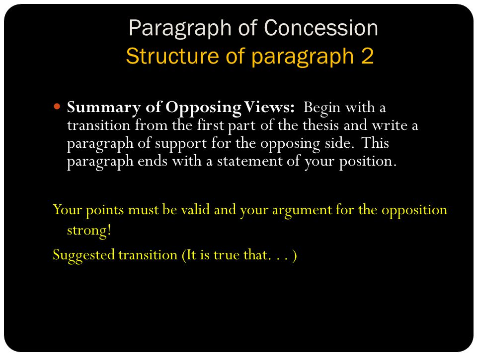 Paragraph of Concession Structure of paragraph 2 Summary of Opposing Views: Begin with a transition from the first part of the thesis and write a paragraph of support for the opposing side.