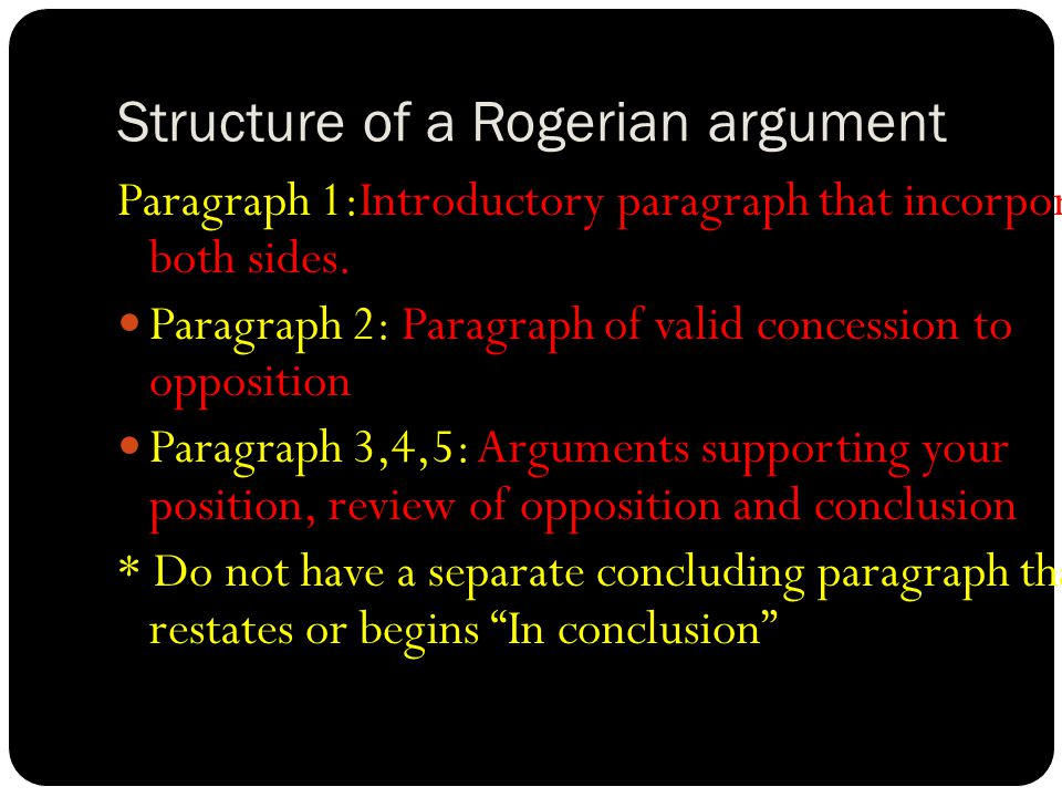 Structure of a Rogerian argument Paragraph 1:Introductory paragraph that incorporates both sides. Paragraph 2: Paragraph of valid concession to opposi
