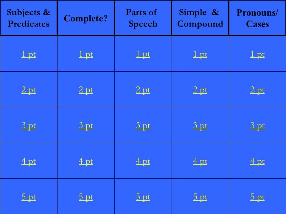 2 pt 3 pt 4 pt 5 pt 1 pt 2 pt 3 pt 4 pt 5 pt 1 pt 2 pt 3 pt 4 pt 5 pt 1 pt 2 pt 3 pt 4 pt 5 pt 1 pt 2 pt 3 pt 4 pt 5 pt 1 pt Subjects & Predicates Complete.