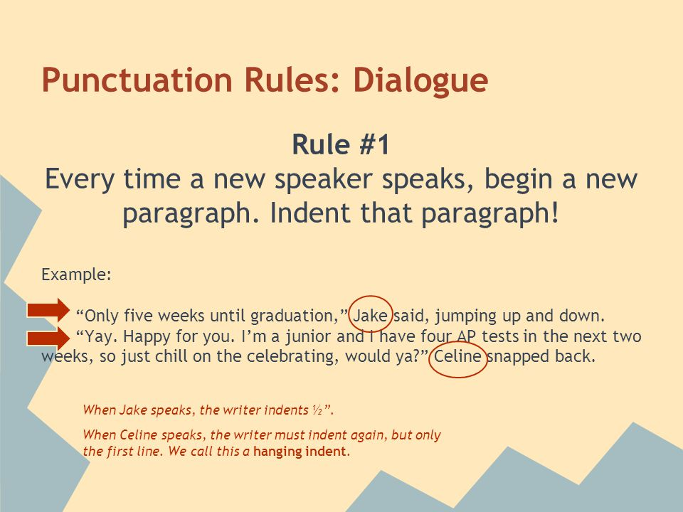 Punctuation Rules: Dialogue Rule #1 Every time a new speaker speaks, begin a new paragraph.