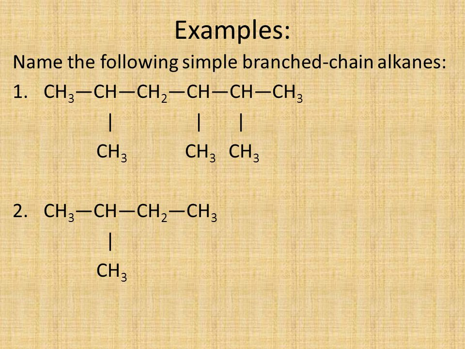 Examples: Name the following simple branched-chain alkanes: 1. CH 3 —CH—CH 2 —CH—CH—CH 3 | | | CH 3 CH 3 CH 3 2. CH 3 —CH—CH 2 —CH 3 | CH 3