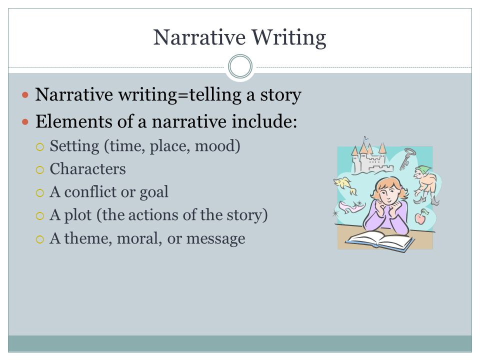 Narrative Writing When writing a narrative, keep the following in mind: Your story should have a clear purpose  Why are you writing.