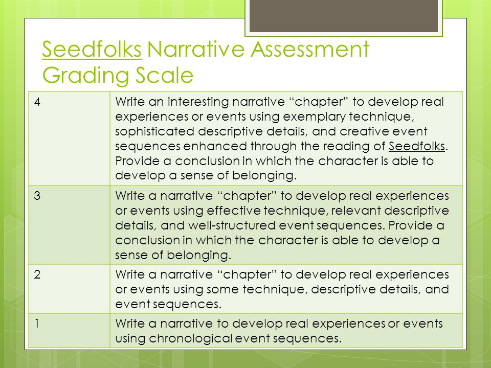 "Seedfolks Narrative Assessment Grading Scale 4Write an interesting narrative ""chapter"" to develop real experiences or events using exemplary technique"