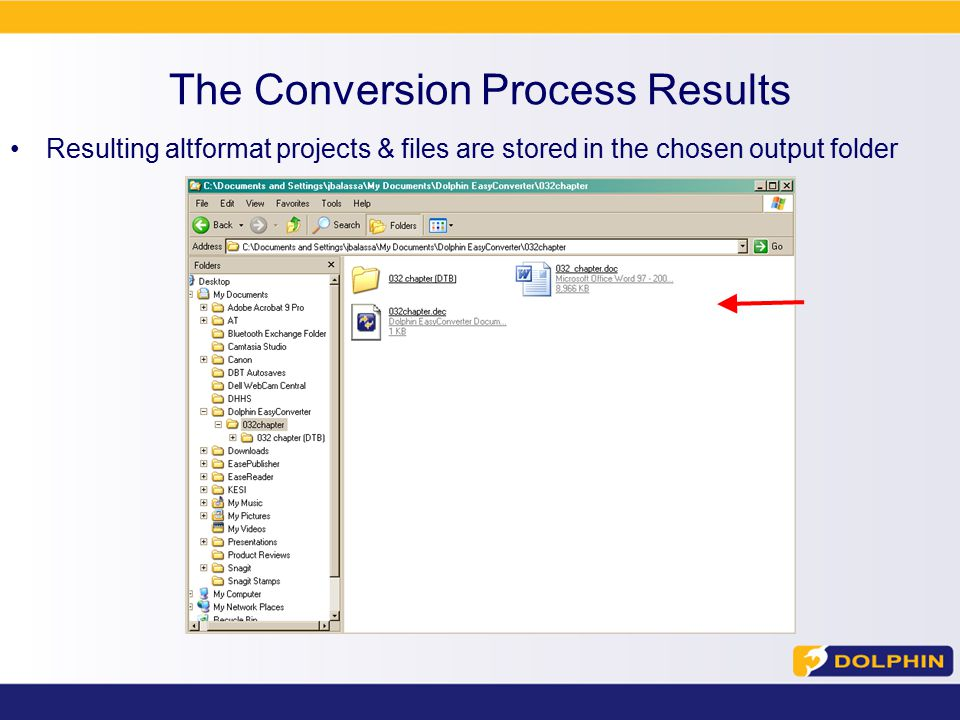 The Conversion Process Results Resulting altformat projects & files are stored in the chosen output folder