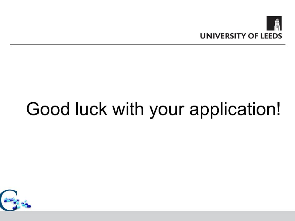 Good luck with your application!