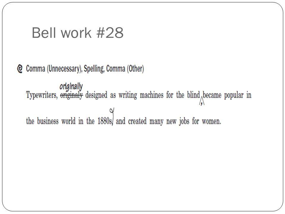 Bell work #28