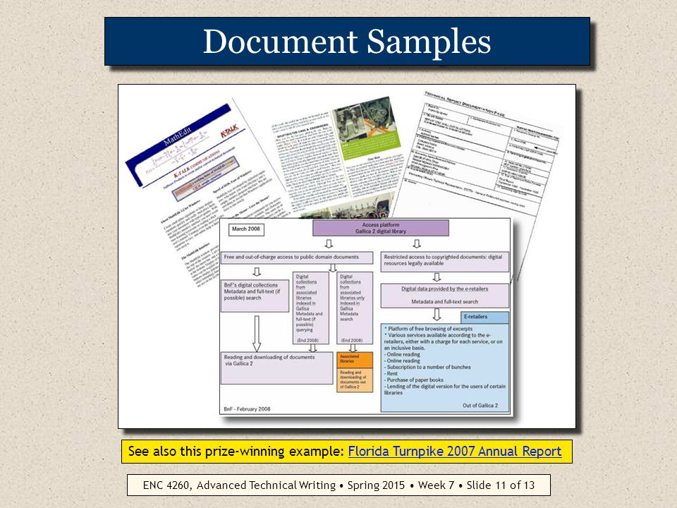 ENC 4260, Advanced Technical Writing Spring 2015 Week 7 Slide 10 of 13 Design + Content Partnership How you say something cannot be conceptually separated from what you are saying Readers of technical documents are also often writers of such documents and thus may be more demanding than general readers The medium is the message. (Marshall McLuhan, 1964) The medium is the message. We affect what we observe by the mere act of observation. (principles of phenomenology)principles of phenomenology Ultimate standard of clarity and impact is the reader's perception, not the writer's intention...