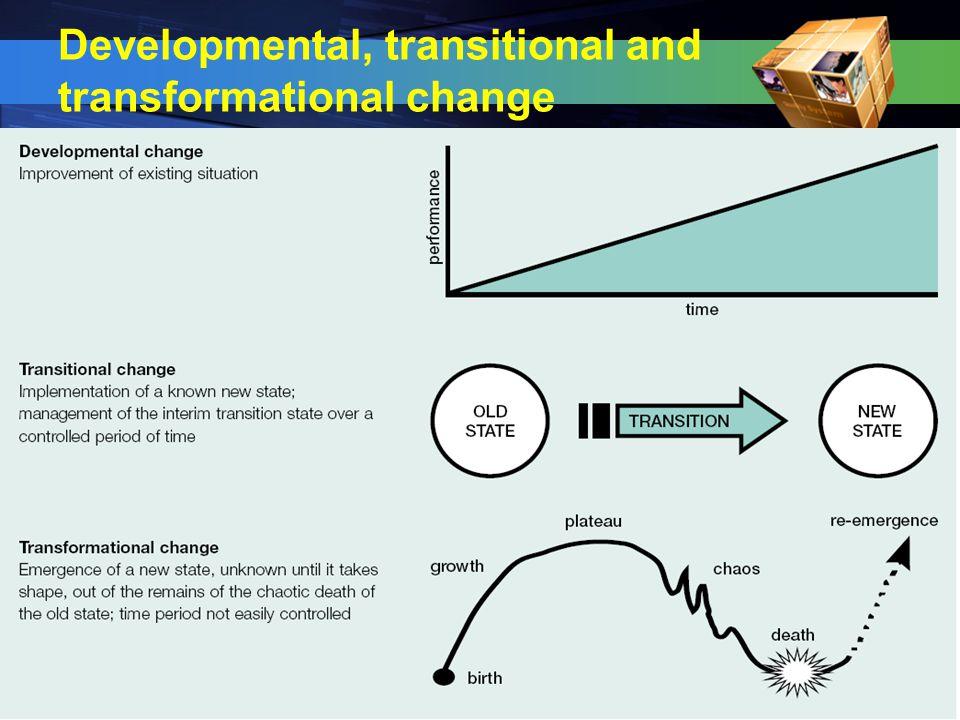 Developmental, transitional and transformational change