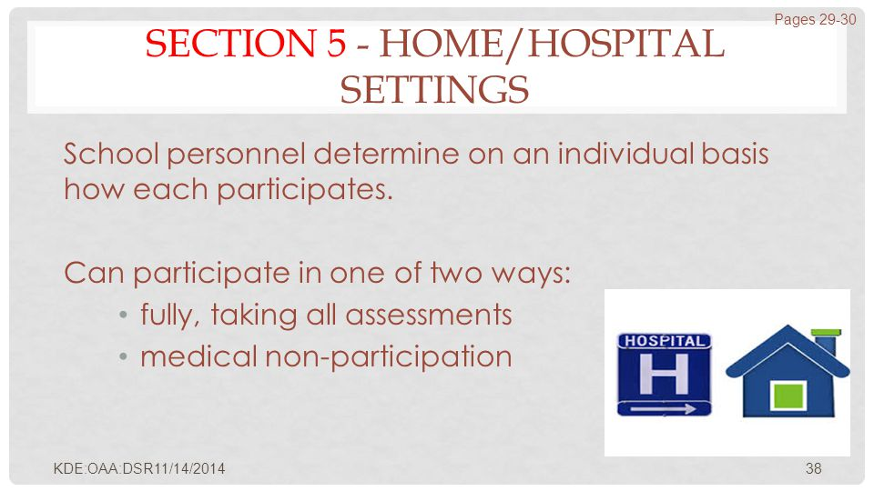 SECTION 5 - HOME/HOSPITAL SETTINGS School personnel determine on an individual basis how each participates. Can participate in one of two ways: fully,