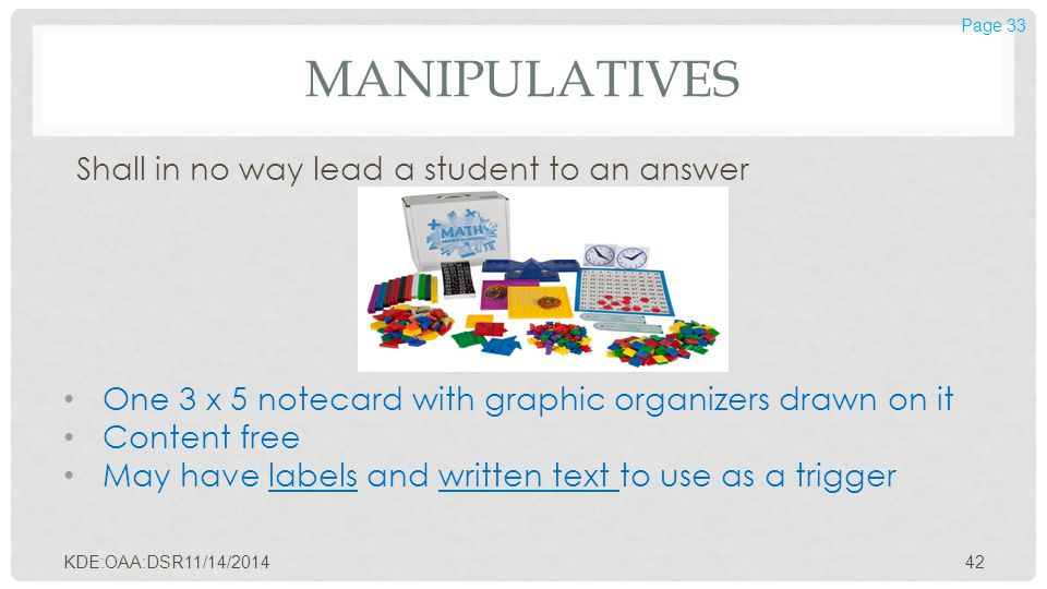 MANIPULATIVES Shall in no way lead a student to an answer One 3 x 5 notecard with graphic organizers drawn on it Content free May have labels and writ