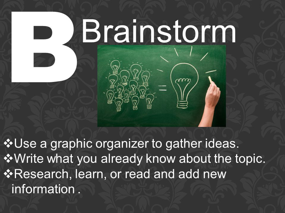 B Brainstorm  Use a graphic organizer to gather ideas.