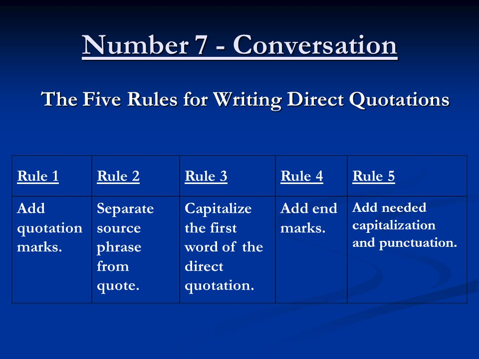 Number 7 - Conversation The Five Rules for Writing Direct Quotations Rule 1Rule 2Rule 3Rule 4Rule 5 Add quotation marks.