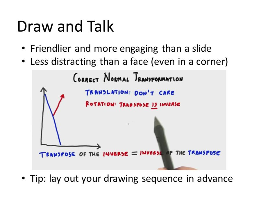 Friendlier and more engaging than a slide Less distracting than a face (even in a corner) Tip: lay out your drawing sequence in advance Draw and Talk
