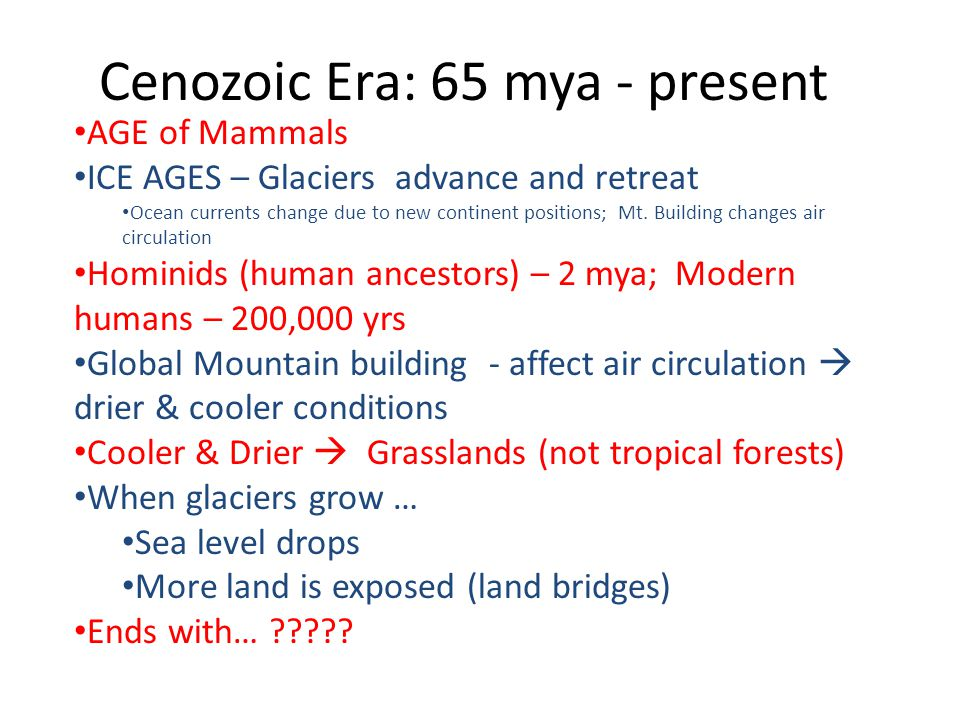 Cenozoic Era: 65 mya - present AGE of Mammals ICE AGES – Glaciers advance and retreat Ocean currents change due to new continent positions; Mt. Buildi