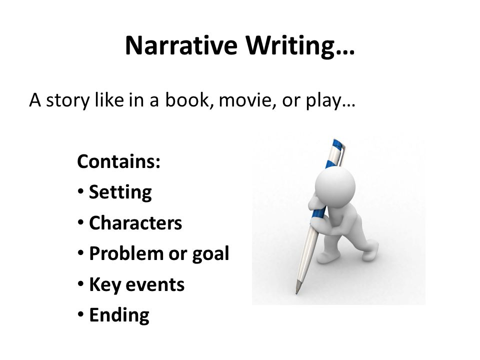 Narrative Writing… A story like in a book, movie, or play… Contains: Setting Characters Problem or goal Key events Ending