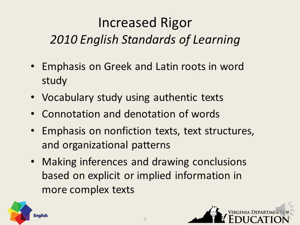 2 Rigor Rigor asks students to use content to solve complex problems and to develop strategies that can be applied to other situations, make connections across content areas, and ultimately draw conclusions and create solutions on their own.