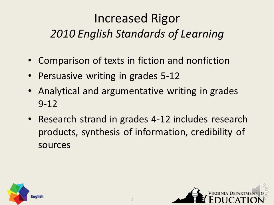3 Increased Rigor 2010 English Standards of Learning Emphasis on Greek and Latin roots in word study Vocabulary study using authentic texts Connotation and denotation of words Emphasis on nonfiction texts, text structures, and organizational patterns Making inferences and drawing conclusions based on explicit or implied information in more complex texts 3