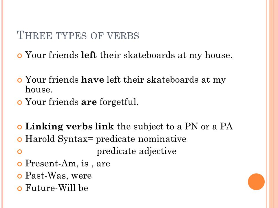 T HREE TYPES OF VERBS Your friends left their skateboards at my house.