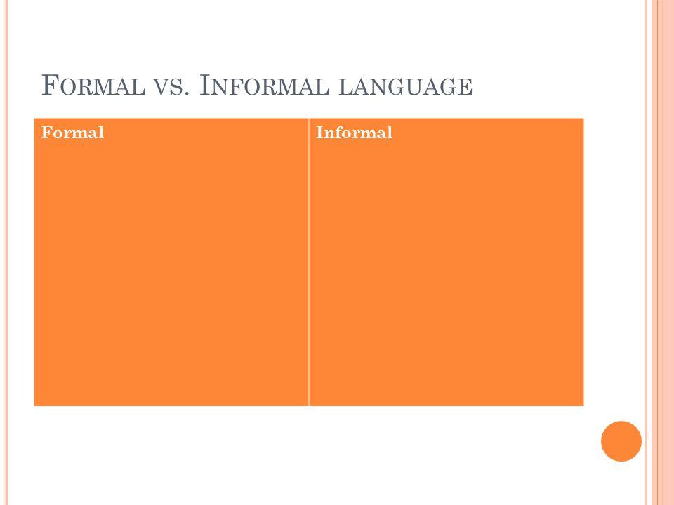 F ORMAL VS. I NFORMAL LANGUAGE FormalInformal