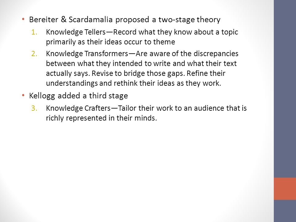 Bereiter & Scardamalia proposed a two-stage theory 1.Knowledge Tellers—Record what they know about a topic primarily as their ideas occur to theme 2.Knowledge Transformers—Are aware of the discrepancies between what they intended to write and what their text actually says.