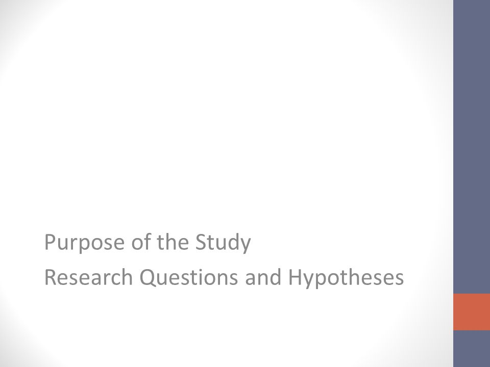 Purpose of the Study Research Questions and Hypotheses